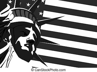 statue, liberté, états-unis. drapeau