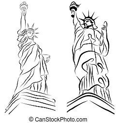 statue, liberté, dessins