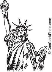 statue, liberté, illustration