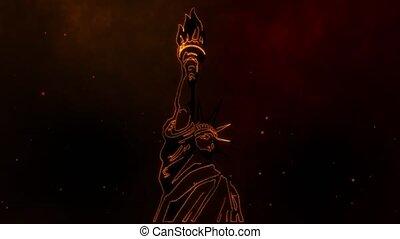 statue, liberté, national, célèbre, monument
