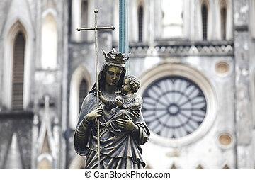 statue, porter, marie, marbre, enfant, vierge, diffusé