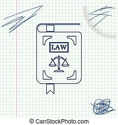 statut, croquis, balances, justice, blanc, isolé, illustration, arrière-plan., vecteur, ligne, livre loi, icône