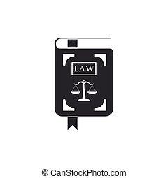 statut, icône, plat, justice, balances, illustration, isolated., vecteur, livre loi, design.