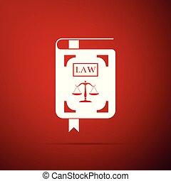statut, icône, plat, justice, balances, isolé, illustration, arrière-plan., vecteur, livre loi, rouges, design.
