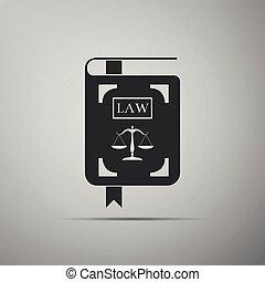 statut, icône, plat, justice, balances, isolé, illustration, gris, arrière-plan., vecteur, livre loi, design.