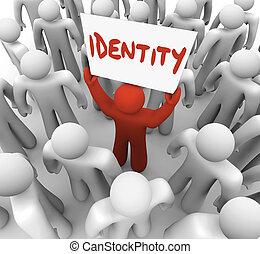 statut, marque, signe, identité, tenue, unique, conscience, homme