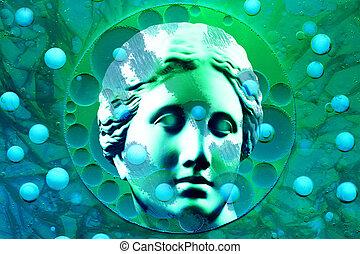 std, art ancien, collage, affiche, contemporain moderne, buste, theme., venus., statue, conceptuel, art.