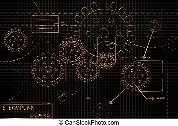steampunk, engrenages, or