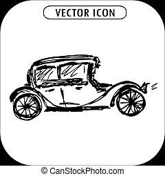 steampunk, main, retro, voitures, dessiné