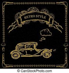 steampunk, noir, retro, voitures