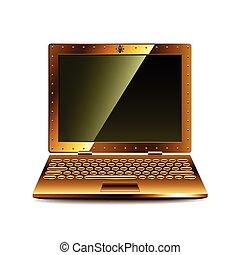 steampunk, ordinateur portable, vecteur, isolé, blanc