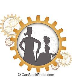 steampunk, silhouettes, couple, entrées