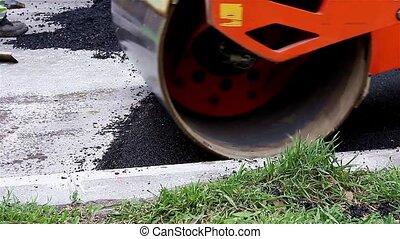 steamroller, flattens, asphalte