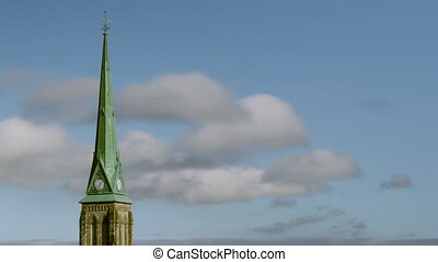 steeple., clouds., timelapse, église