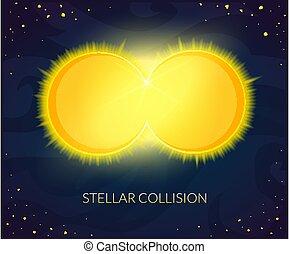 stellaire, collision, vecteur, illustration