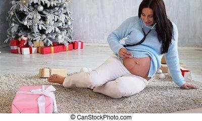 stetoscope, pregnant, arbre, dons, maman, noël