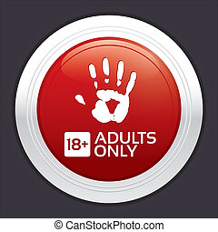sticker., adultes, button., contenu, seulement, rond, rouges
