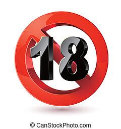sticker., adultes, signe., xxx, prohibition, signe, contenu, seulement, dix-huit, limite, sous, icon., âge