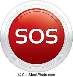 sticker., button., sos, vecteur, rond, rouges