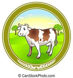 sticker., vecteur, vache laitière, emblème, illustration.eps