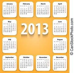 stickies, calendrier, blanc, 2013