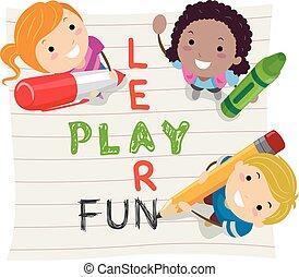 stickman, apprendre, gosses, jeu, amusement