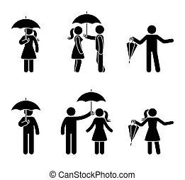 stickman, couple, ensemble, parapluie, icône
