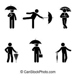 stickman, ensemble, parapluie, icône