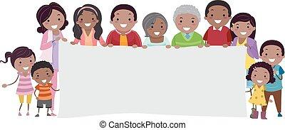 stickman, famille, bannière, noir