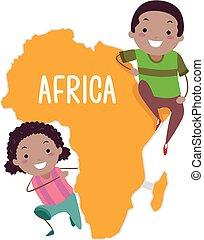 stickman, gosses, afrique, illustration, continent