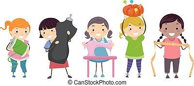 stickman, gosses, filles, couture, kit