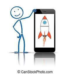 stickman, smartphone, fusée