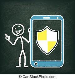 stickman, tableau noir, smartphone, protection, bouclier