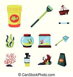 stock., chouchou, signe., objet, eau, isolé, collection, accessoire, vecteur, icône