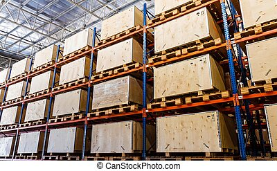 stockage, étagères, entrepôt, fabrication