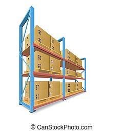 stockage, boxes., etagères