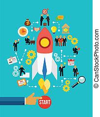 stockage, business, infographics, début