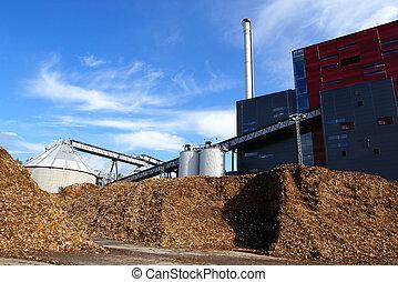 stockage, contre, ciel bleu, bois, puissance, carburant, bio, plante