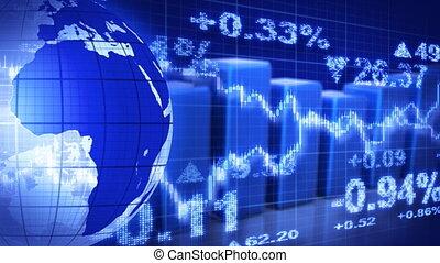 stockage, globe bleu, graphiques, marché