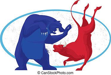 stockage, -, marché, ours, taureau