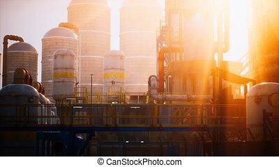 stockage, raffinerie, réservoirs, usine, huile