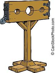 stocks, dessin animé, moyen-âge