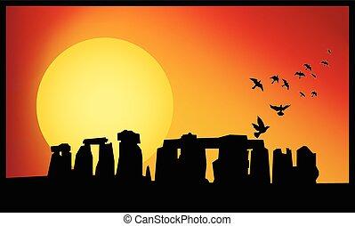 stonehenge, crépuscule