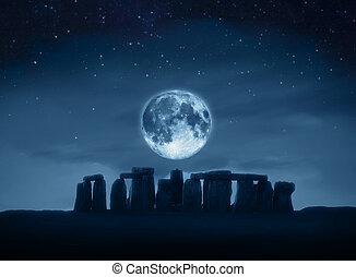 stonehenge, pleine lune