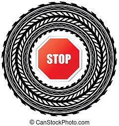 stop, piste, pneu