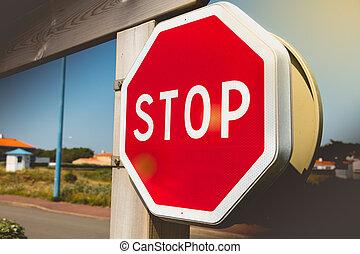 stop, sortie, lot, stationnement, rouges