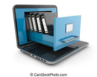 storage., ordinateur portable, binders., cabinet, fichier, anneau, données