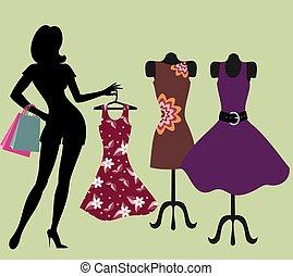 store., girl, habillement