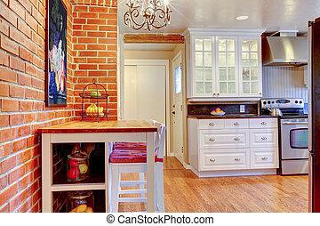 stove., bois dur, sans tache, mur, blanc, voler, brique, cuisine