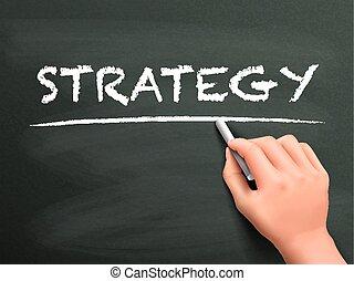 stratégie, écrit, concept, main